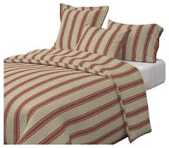 large western ticking stripe red red vintage cotton duvet cover farmhouse duvet covers and duvet sets by roostery