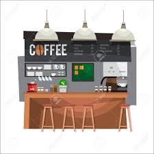 Coffee Bar Design Coffee Bar Coffee Shop Design In Flat Style Vector Illustration