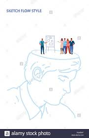 Open Human Head Businessman Making Business Presentation On