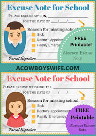 Doctors Note For School Absence Free Back To School Absence Excuse Notes Printable A