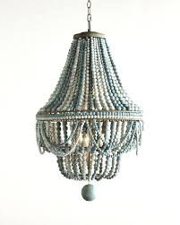 wood bead chandelier wooden lovely beaded in shades of blue stained fresh elena pottery barn