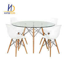 replica eames round 120cm glass dining table metal and beech wooden leg