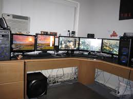 attractive triple monitor desk setup with view topic new to forums looking for triple monitor mount