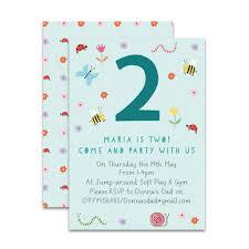 Children Birthday Invitations Personalised Garden Childrens Birthday Invitations