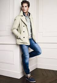 team a beige pea coat with deep blue jeans if you re going for a