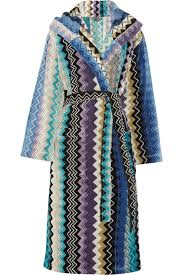 missoni towelling dressing gown in blue  lyst