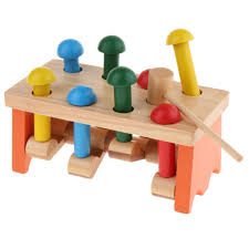 details about wooden pounding bench with hammer peg education toy for toddlers