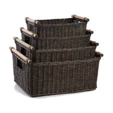 Pole Handle Wicker Storage Basket - The Basket Lady