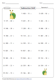 Horizontal Subtraction Facts Worksheet