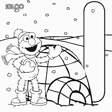 abc letter i igloo sesame street elmo coloring pages 7