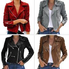 new pu leather jacket women fashion bright colors black motorcycle zipper short coat short faux leather biker jacket soft avirex leather jackets nice