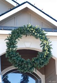 balsam hill wreath with chirstmas lights after