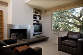 corner fireplace ideas family room contemporary with exposed beams built ins