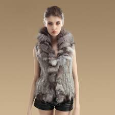 name luxury real rabbit fur gilet with large fox fur collar vest knitted warm fur jacket nature grey