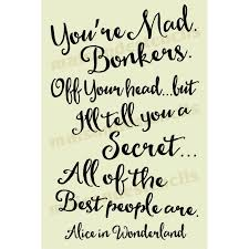 Quotes From Alice In Wonderland Impressive You're Mad Bonkers Alice In Wonderland Quote 48x48 Stencil