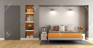 Contemporary Master Bedroom With Bed,niche And Closed Door   3d Rendering  Stock Photo