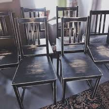 black distressed wood dining chairs