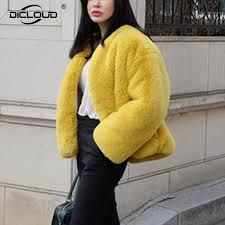 2018 fluffy cozy faux rabbit fur outerwear women winter warm jacket coat fashion yellow gy faux fur coats women faux fur overcoat from leme0