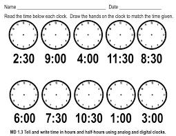 Math Clocksheets Timesheet Oclock Quarter And Half Past 2nd Grade ...