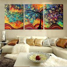 large wall art home decor abstract tree painting colorful metal