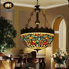 tiffany style stained glass retro dragonfly shade chandelier hanging lamp on tiffany style dining