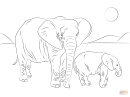 Small Picture African Elephant family coloring page Free Printable Coloring Pages