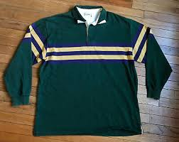 vintage 90s ll bean rugby shirt polo sz xl green blue yellow freeport maine