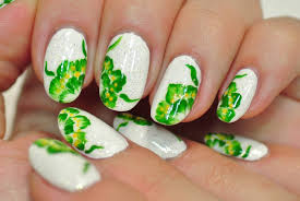 White Base Nails With Green Flowers Nail Art Tutorial