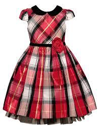 Bonnie Jean Toddler Girls Red Plaid Black Velvet Collar Christmas Dress 2t 4t