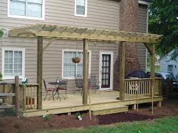 pergola over deck most selected design birch polished finish wooden posts crossbeams rafters roof battens ledger attached house terrace patio decoration