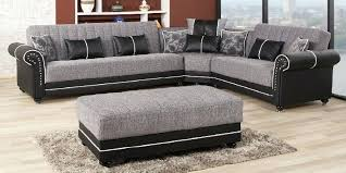 leather nailhead sectional couch grey sofa design ideas