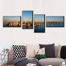 panoramic canvas wall art throughout most recently released 4 pcs set modern canvas painting landscape