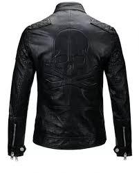 men skull biker leather jacket