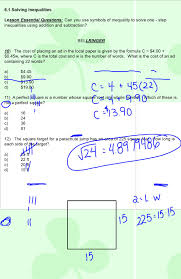 1 6 1 solving inequalities lesson essential questions can you use symbols of inequality to solve one step inequalities using addition and subtraction