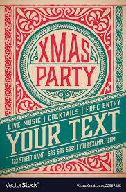 Retro Holidays Retro Christmas Party Invitation Holidays Flyer Vector Image On Vectorstock