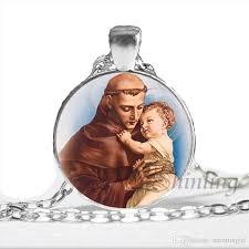 whole newest st anthony of padua necklace saint pendant art st anthony jewelry glass cabochon religious religious necklace chain necklace mens necklace