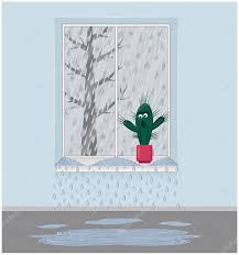 Regen Sie Draußen Vor Dem Fenster Der Rahmen Ist Undicht Die