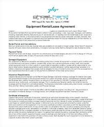 Equipment Rental Contract Sample Simple Equipment Lease Agreement Template Rental U48 Verbeequipment