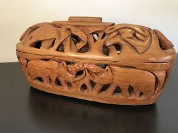beautiful openwork african wooden box with lid ghana africa