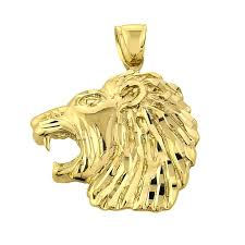 gb56538y 415 instock s goldboutique com precision cut lion head pendant necklace in gold gb56538y gold boutique
