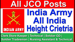 Indian Army Clerk Salary Chart All India Height Criteria For India Army All Jco Posts Gd Technical Clerk Store Keeper Trades Man