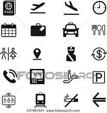 空港 シルエット アイコン ベクトル イラスト セット クリップアート切り張りイラスト絵画集