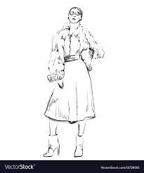 Fashion Model In Sketching Style