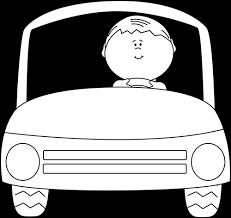 car clipart black and white. Beautiful White Black And White Kid Driving A Car Clip Art  Inside Clipart And