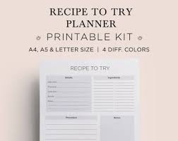 blank recipe book blank recipe cards blank recipe binder recipe pages recipe planner recipe printable a4 a5 legal size 4 colors