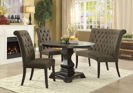 4 pc nerissa collection antique black finish wood transitional style round dining table set with gray