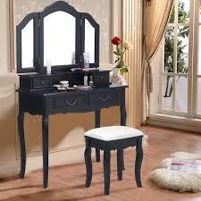 makeup table vanity set folding mirror dresser 4 drawers black
