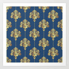 Gold Damask Background Gold Damask Flowers And Pearls On Blue Background Art Print By Danadudesign