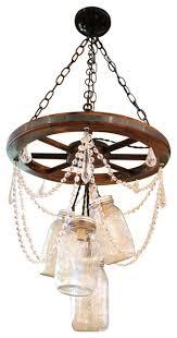 mason 5 jar wagon wheel chandelier with crystal