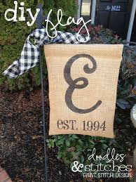 doodles stitches shows you how to make a simple diy burlap flag using a vinyl stencil summery garden flag